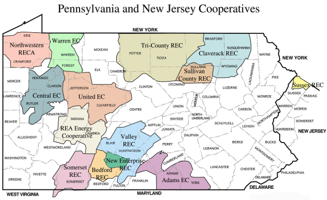 Map of service territories of electric cooperatives in Pennsylvania and New Jersey